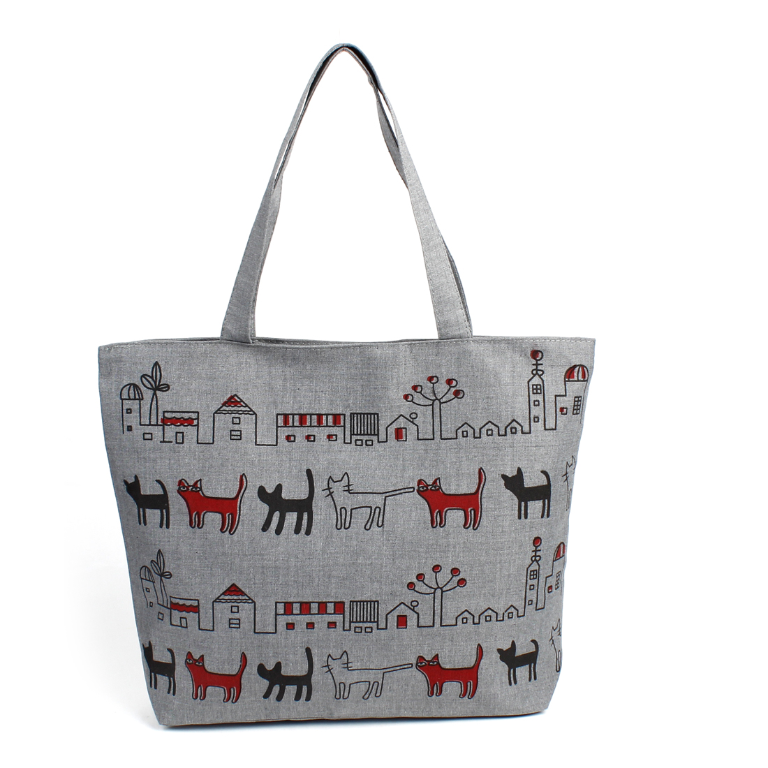 Lady Black Red Cat Print Nylon Lining Zip Up Shopping Handbag Bag Gray