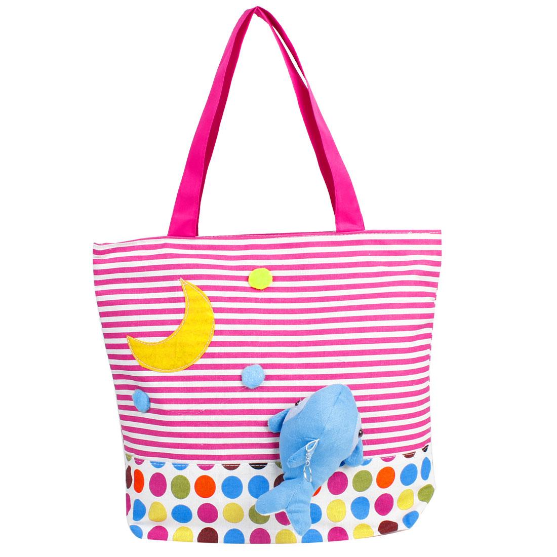 Fuchsia White Strips Dot Pattern Zipper Up Dolphin Decor Handbag for Ladies