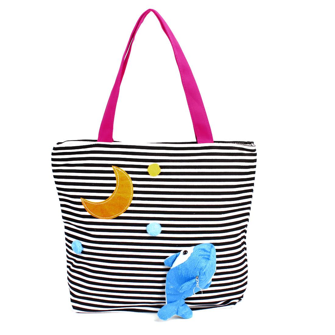Lady Horizonal Strip Print Nylon Lining Zip Up Shopping Handbag Bag Black White