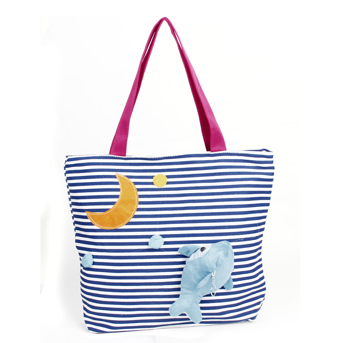 Strip Pattern Dolphin Decor Zipper Closure Handbag Tote Bag Blue White for Lady