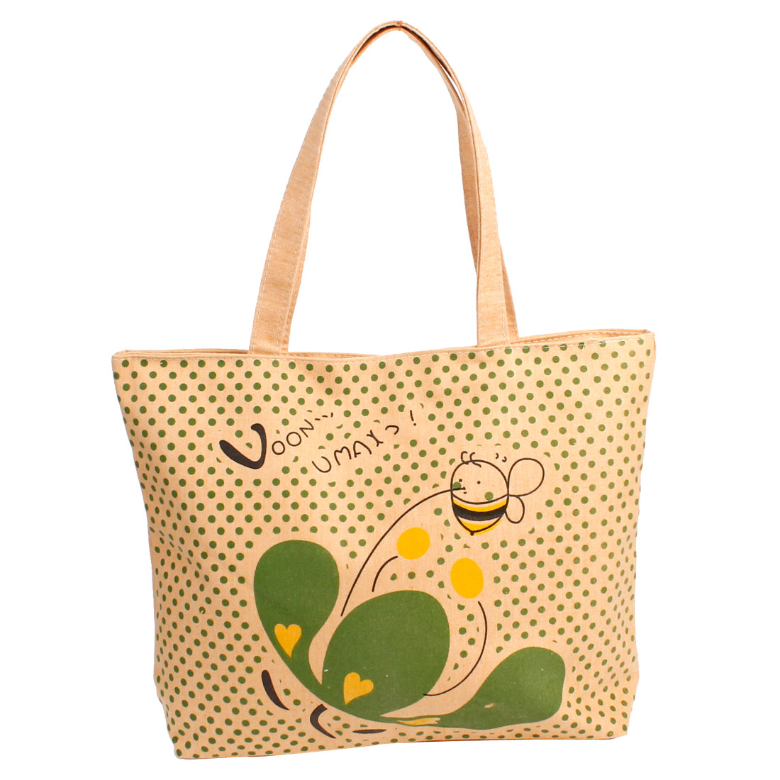 Green Dot Pattern Zipper Closure Shopping Handbag Apricot Color for Lady