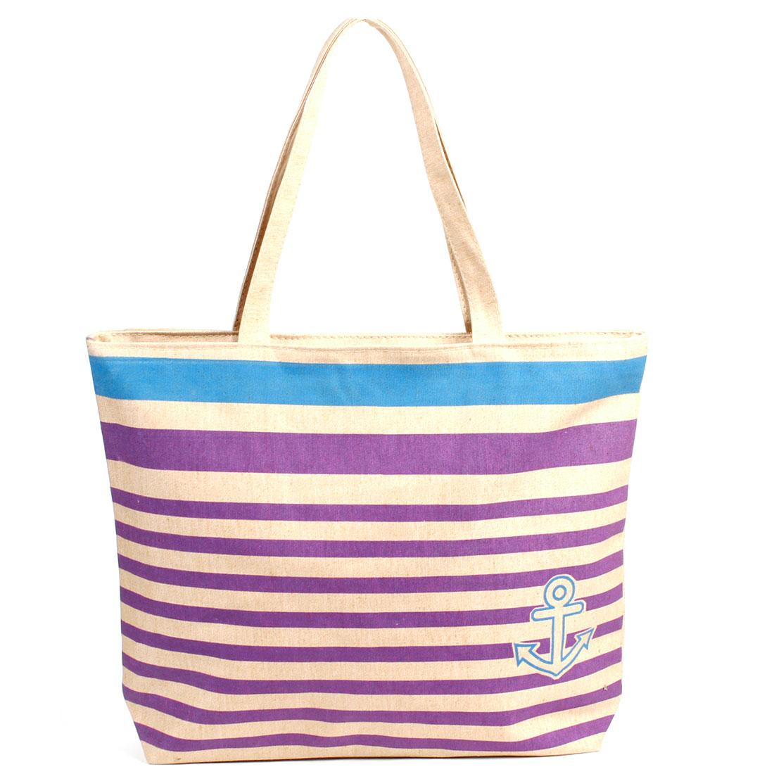 Lady Horizonal Strip Print Nylon Lining Zip Up Handbag Bag Apricot Color Purple