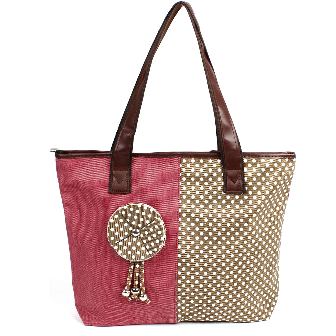 Amaranth Brown Dots Pattern Zipper Closure Floral Decor Handbag for Ladies