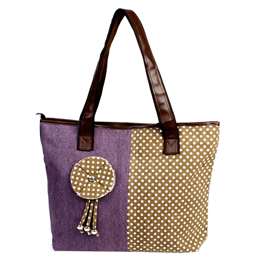 Dots Pattern Floral Decor Zipper Closure Handbag Tote Bag Purple Brown for Lady
