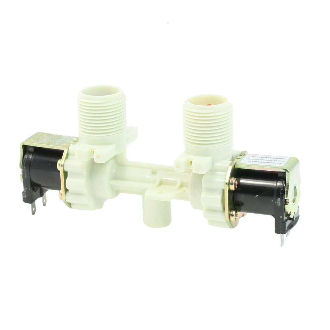 "AC220-240V 3/4"" PT Dual Head Water Inlet Solenoid Valve for Washing Machine"