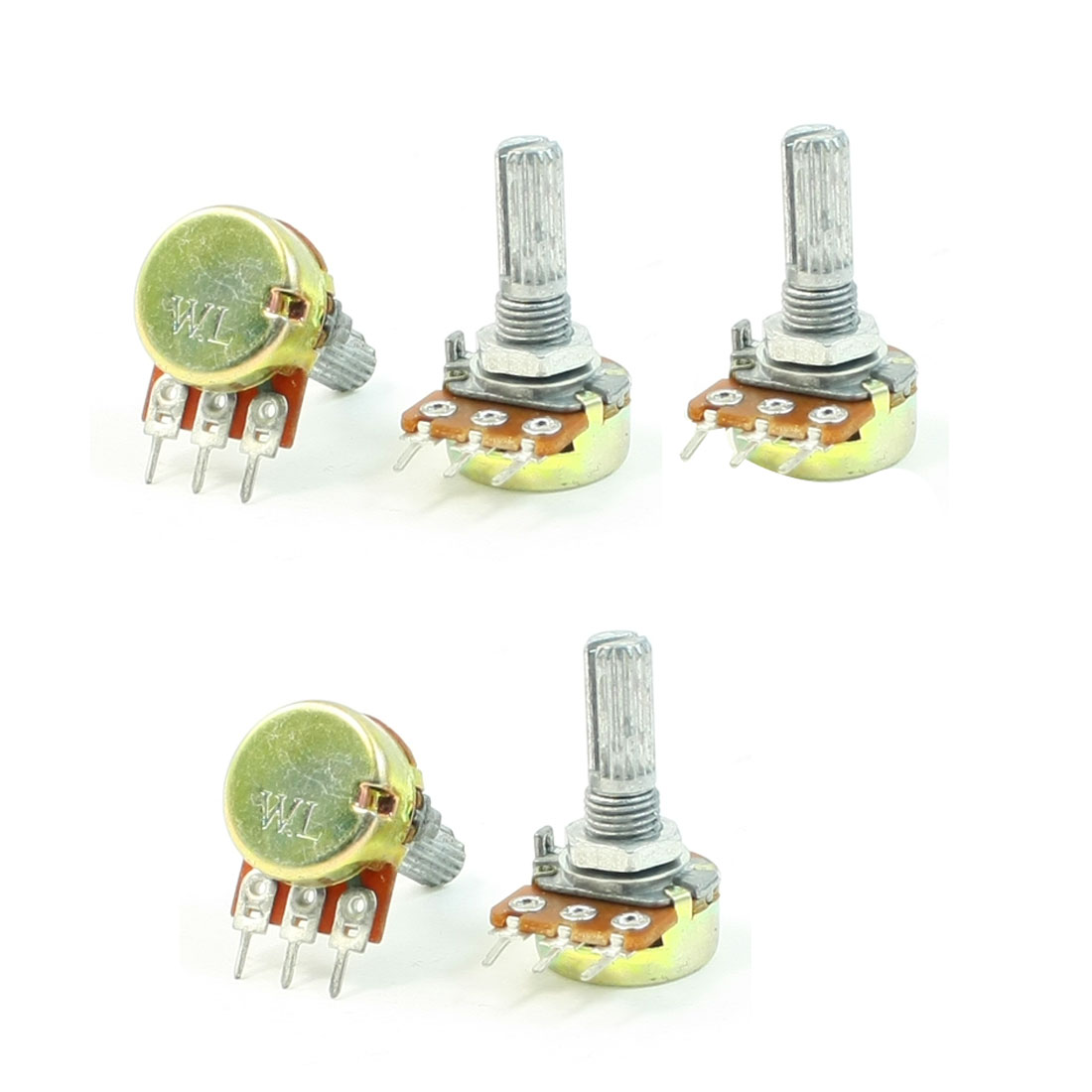 B10K 10K Ohm Adjustment Single Linear Rotary Taper Potentiometer 5 Pcs