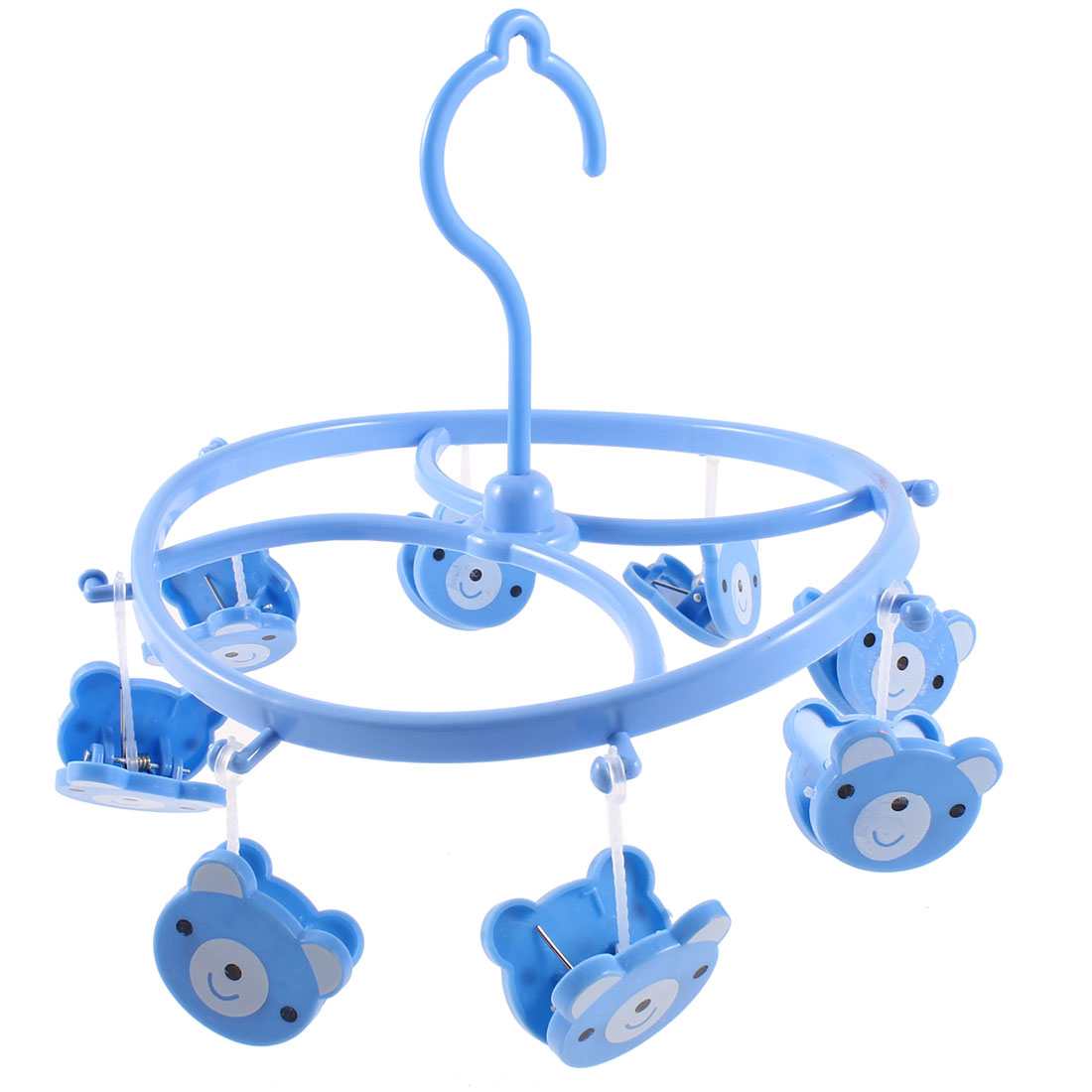 Household Blue Cartoon Piggy Print Clothing Drying Clips Clamps Hook Rack