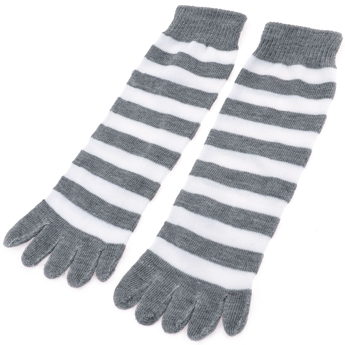 Woman Elastic Gray White Bar Stripes Pattern Warm Five Toe Socks Pair