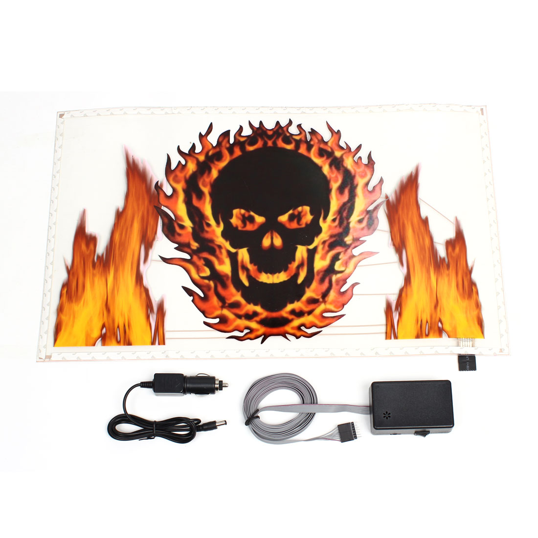 Skull Head Pattern Rhythm LED Light Sound Activated Equalizer Sticker for Car