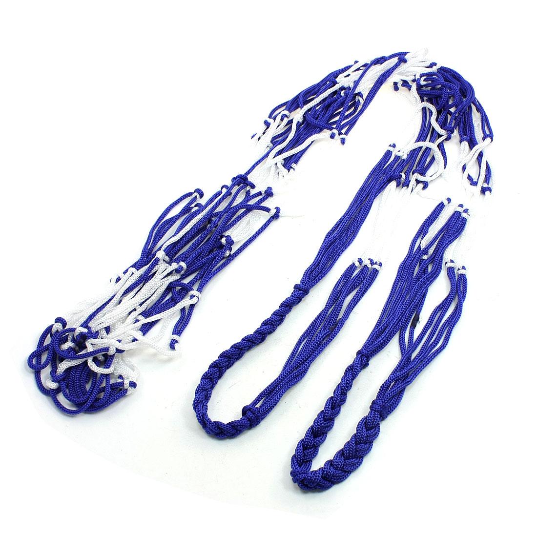 90cm Long White Blue Nylon Ball Carrier Net Mesh Bag for Basketball