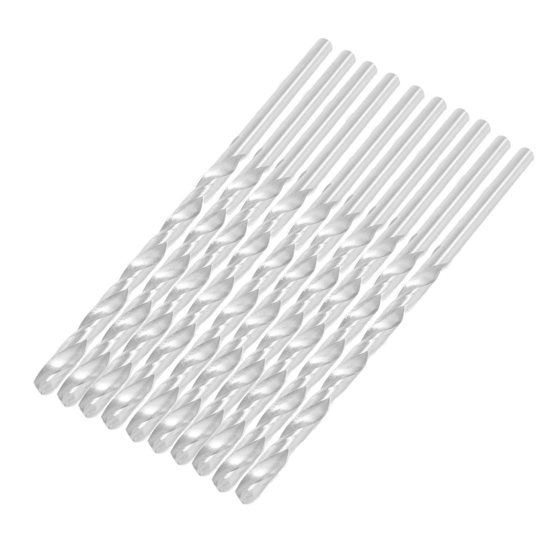 4.5mm x 125mm Metal Marble Drilling High Speed Steel Spiral Drill Bits 10 Pcs