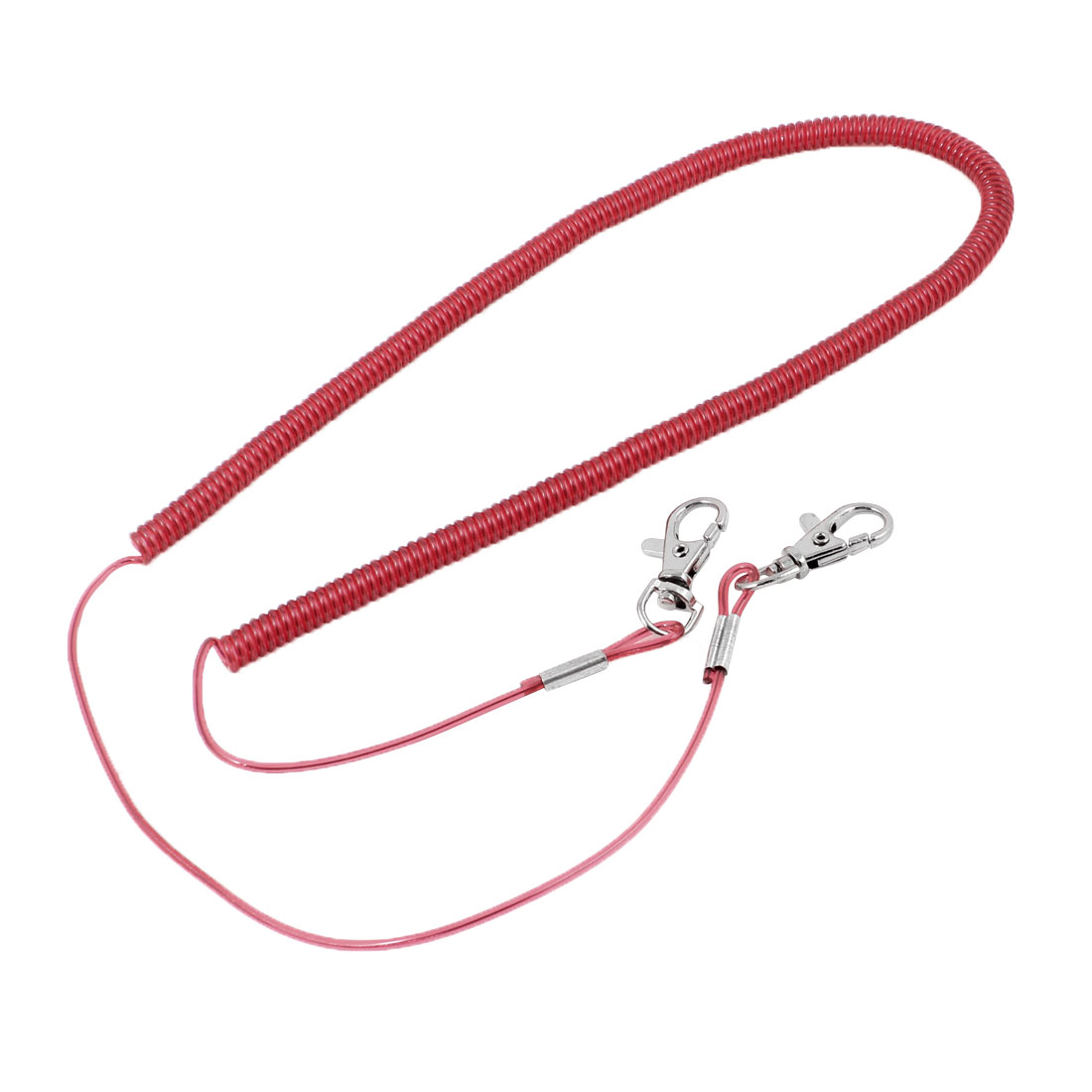 Lobster Clasp Hook Flexible Fishing Safety Line Coiled Lanyard Red 5 Meter