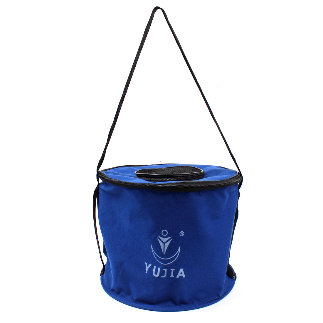 "12"" Diameter Foldable Round Fishing Water Bucket Blue"