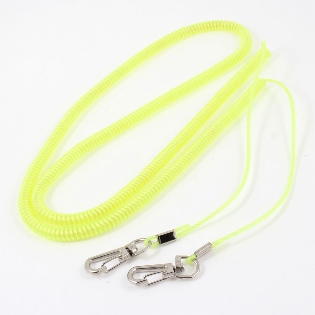 Angling Fishing Rod Lobster Clasp Yellow Flexible Coiled Lanyard Cable Cord 8M