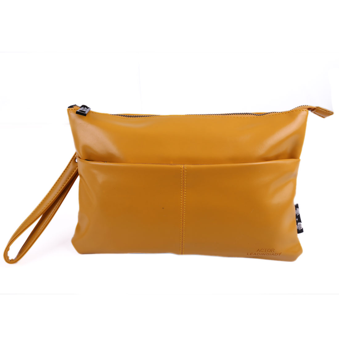 Woman Faux Leather Zipper Closure Handbang Shoulderbag Earth Yellow w Strap