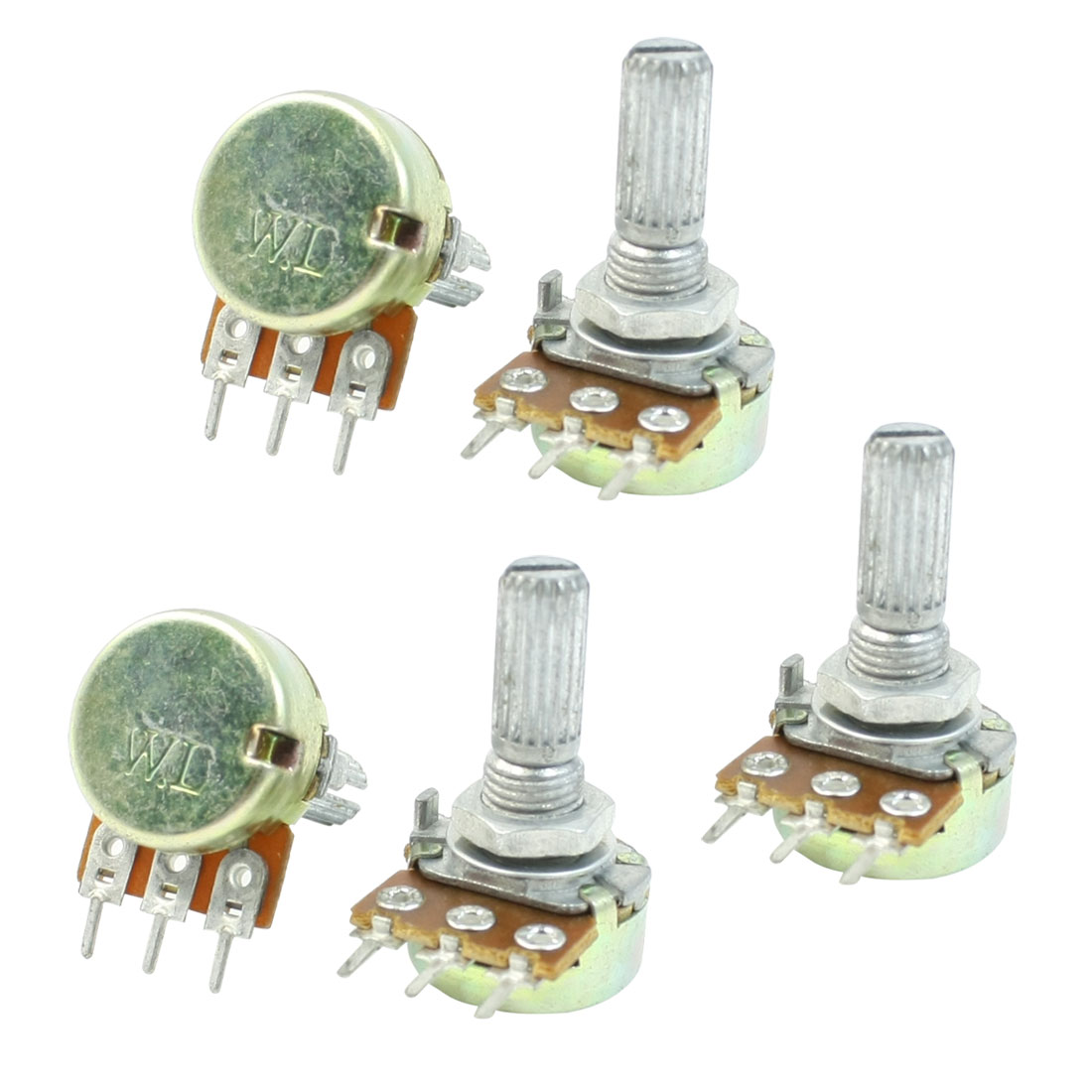 One Linear Type 3 Terminals Rotary Taper Potentiometer 20K Ohm 5 Pcs