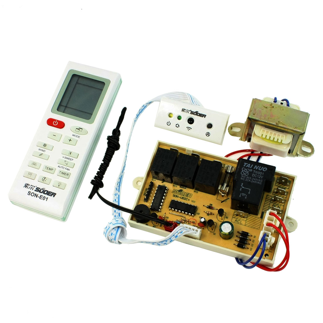 Air Conditioner Control PCB Board + Remote Controller + Fork Terminal