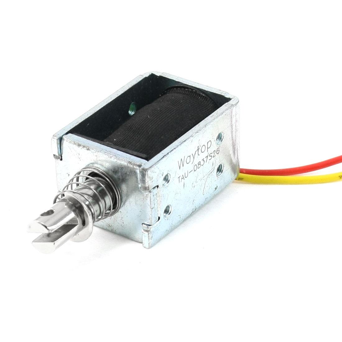 10mm Stroke 0.1kg Open Frame Push Solenoid Electromagnet DC 24V 400mA