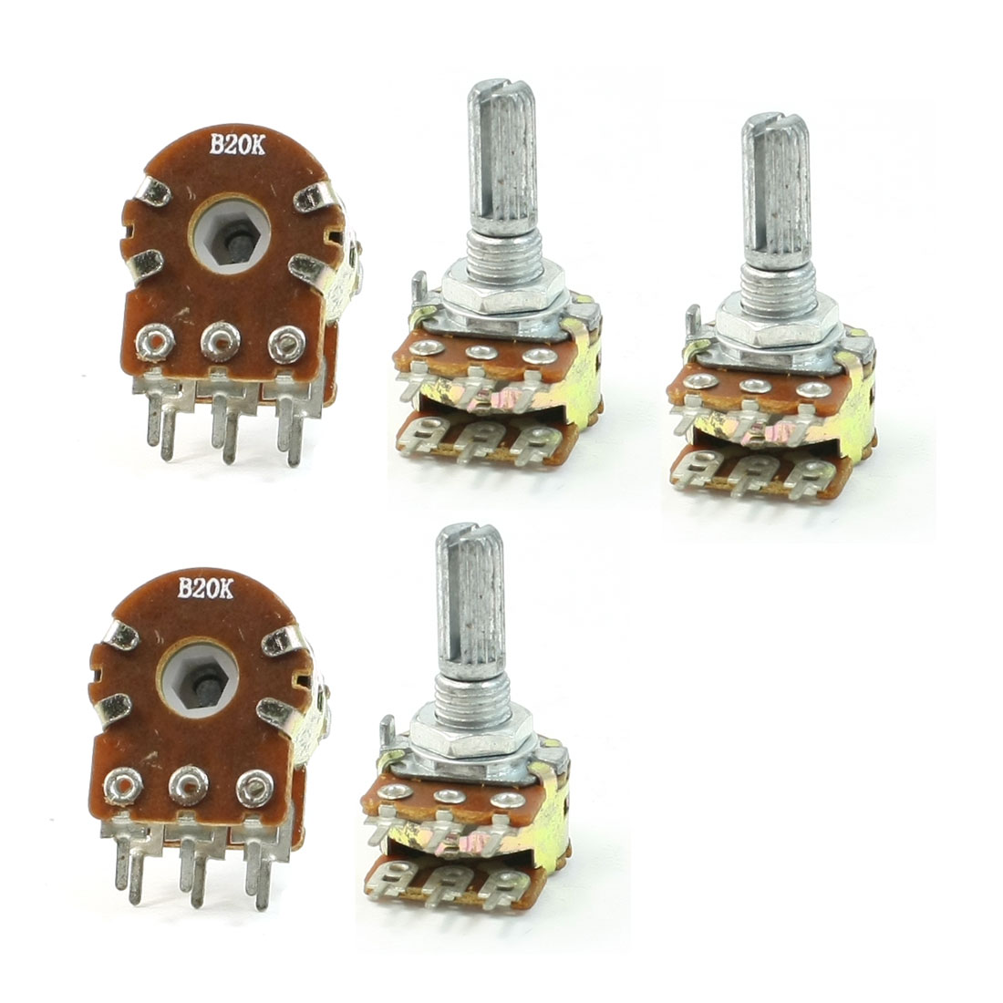 B20K 20K Ohm Adjustment Double Linear Rotary Taper Potentiometer 5 Pcs