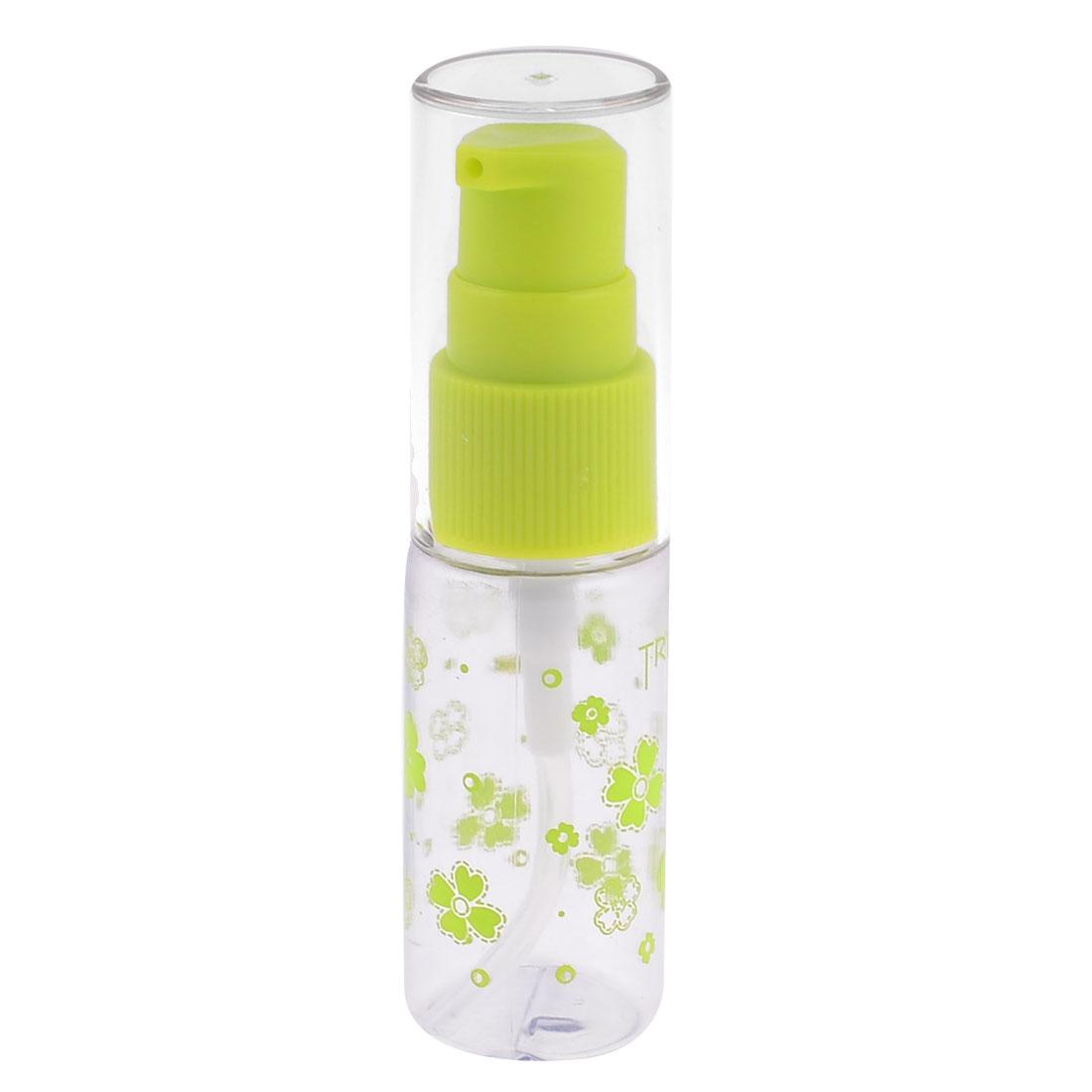 Women Flower Print Green Yellow Plastic Liquid Cosmetic Spray Bottle Holder 15cc