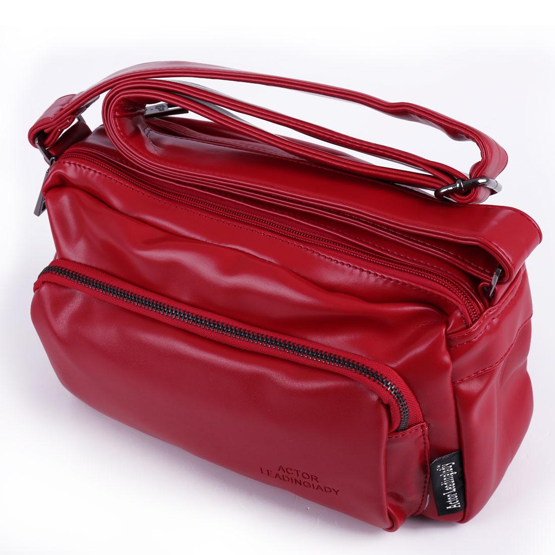 Woman Soft Faux Leather Adjustable Strap Zippered Shoulder Bag Red
