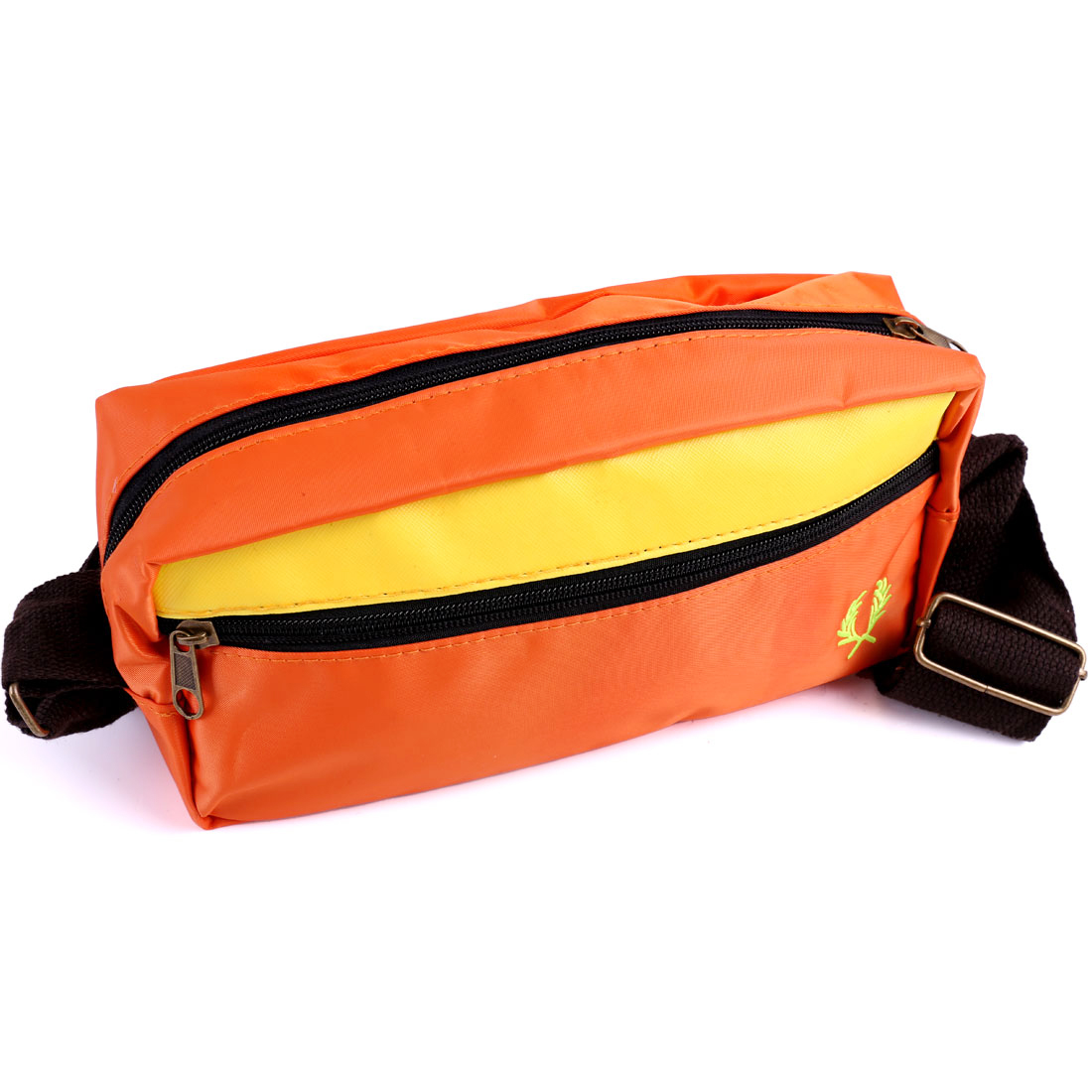 Men Adjustable Strap Zip Closure Panel Waist Bag Orange Yellow