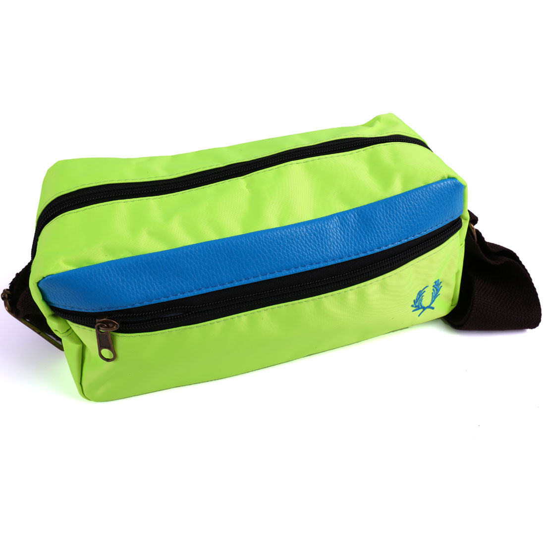 Men Interior Pocket Zip Closure Splice Waist Bag Lime Dark Turquoise