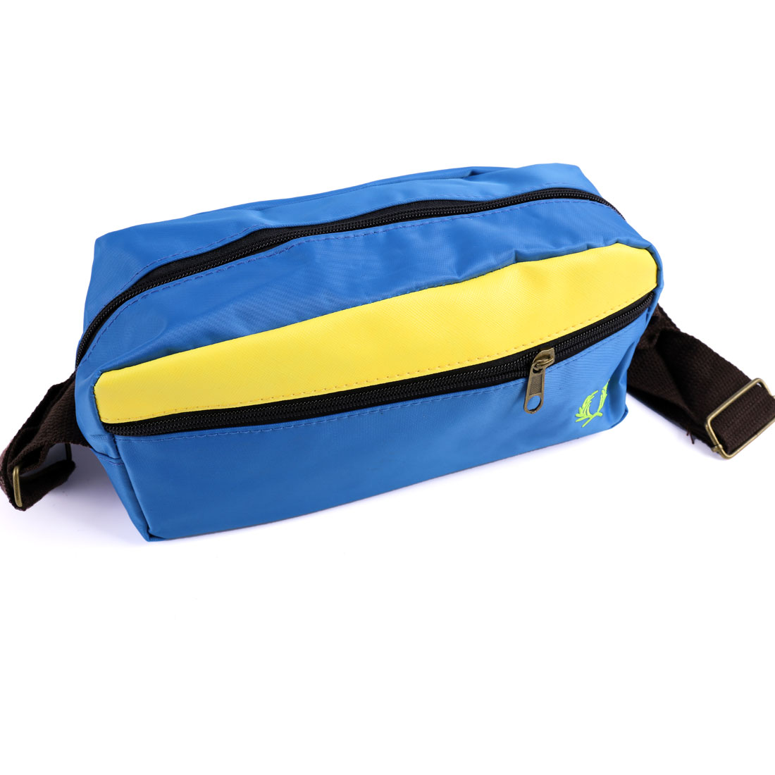 Men Buckle Strap Pouch Pocket Lining Waist Bag Royal Blue Yellow