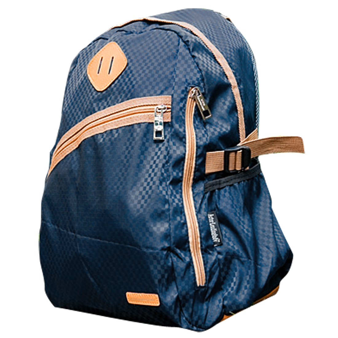 Men Padded Straps Slant Mesh Patchwork Plaids Backpack Navy Blue