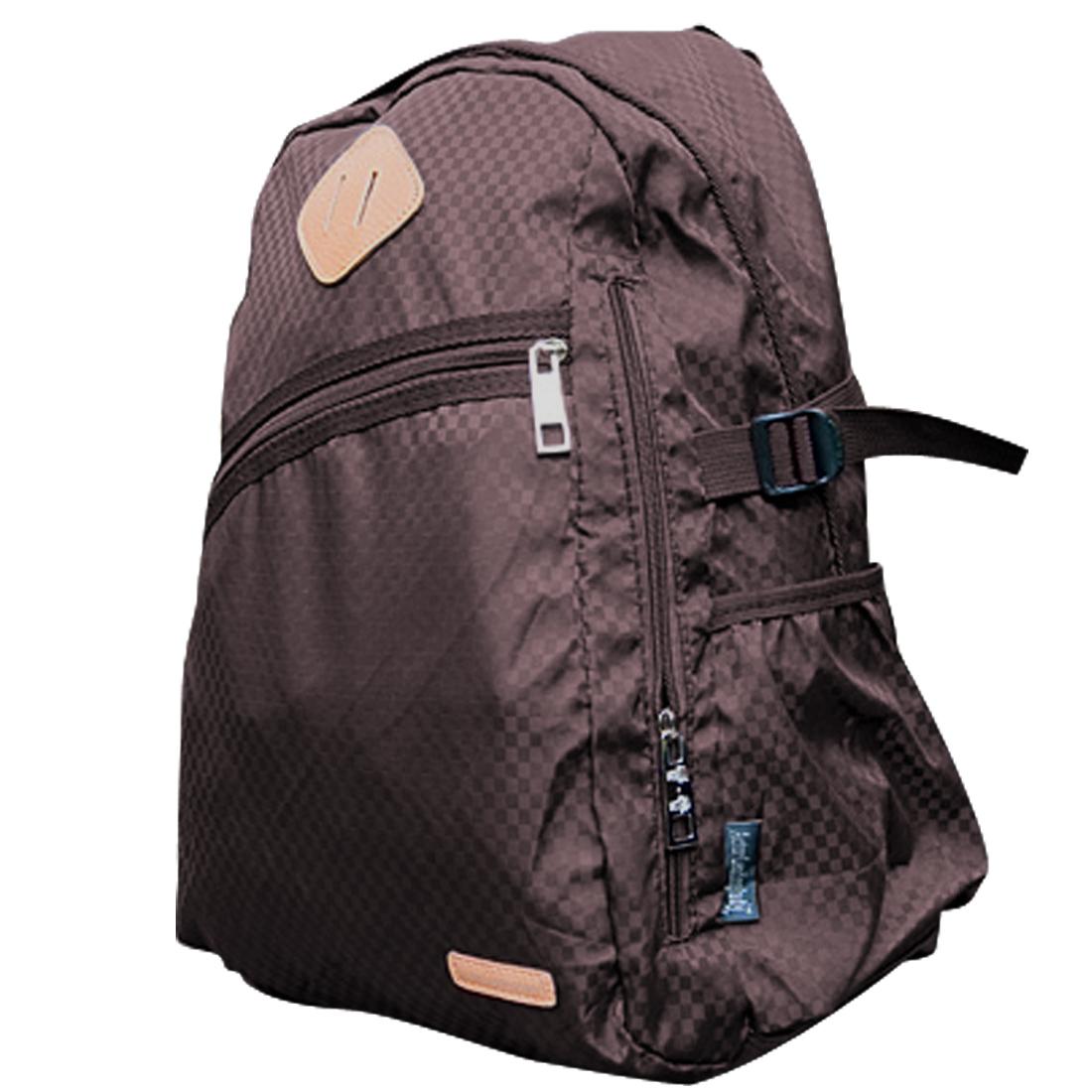 Men Padded Straps Slant Zippered Front Pocket Backpack Coffee