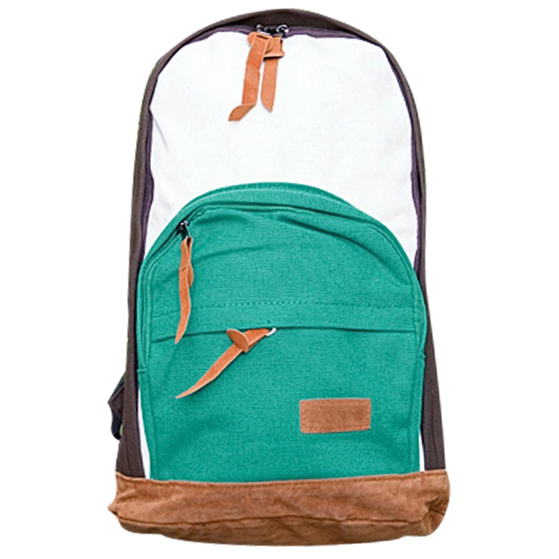 Men Adjustable Straps Front Pockets Zip Up Backpack Coffee White