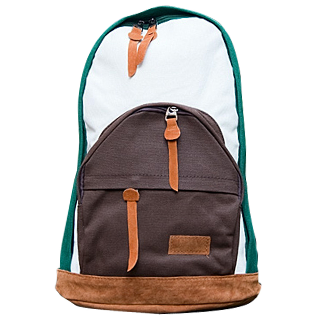 Men Padded Buckle Straps Zippered Front Pockets Backpack Dark Green