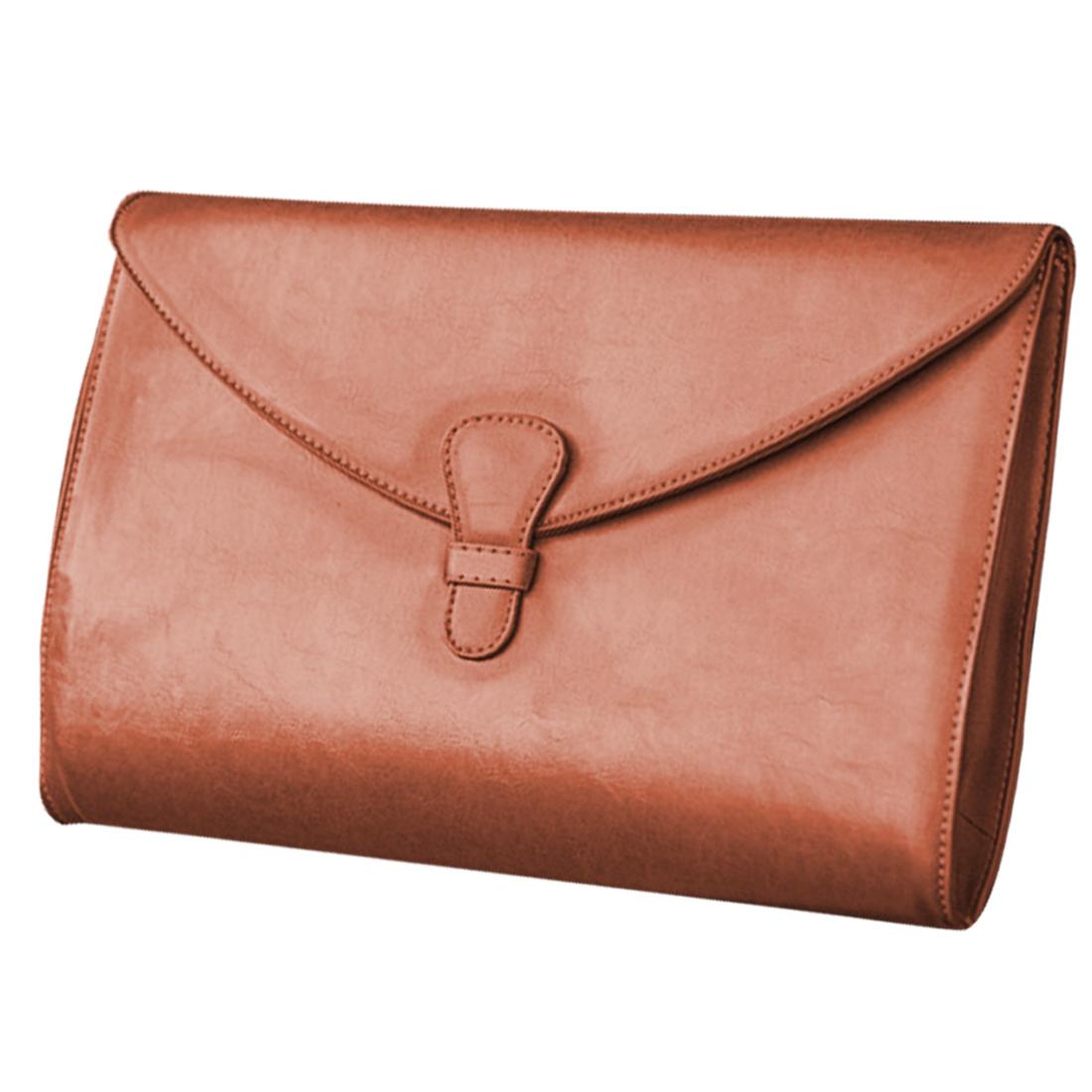 Men Adjustable Strap Interior Zip Up Pocket Briefcase Chocolate
