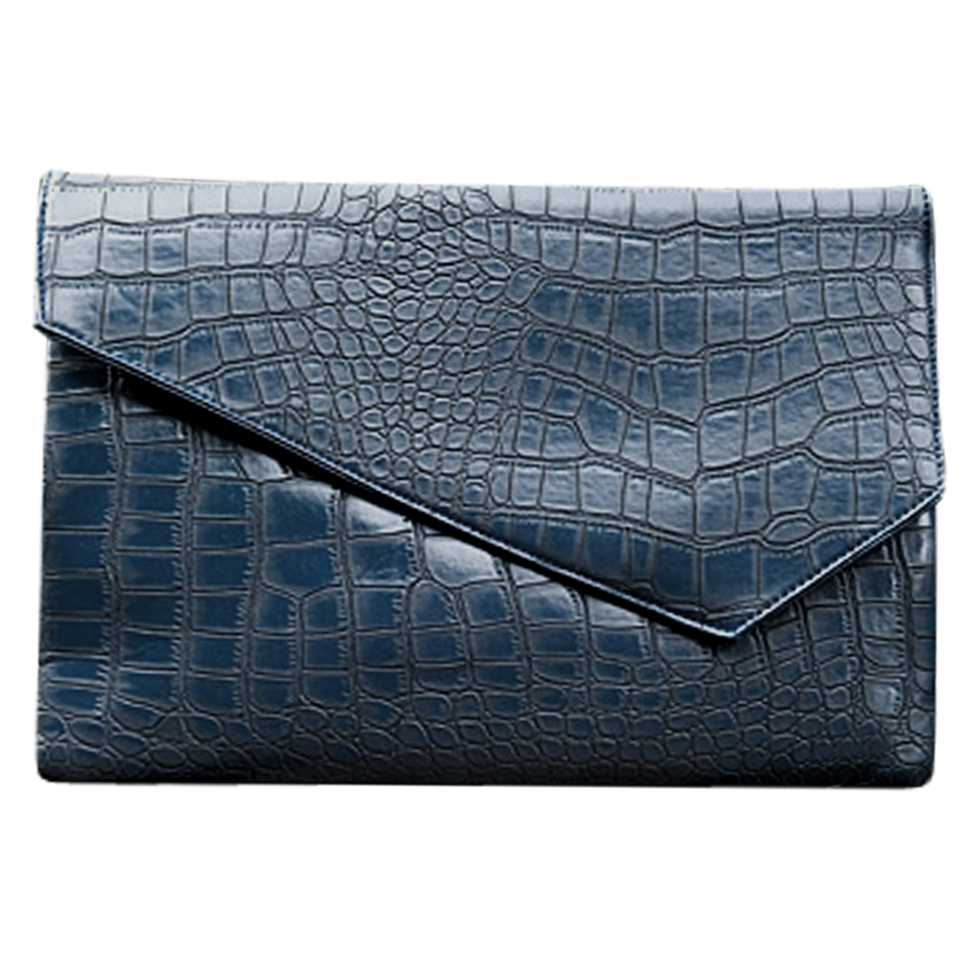 Men Adjustable Single Strap Crocodile Pattern Briefcase Navy Blue