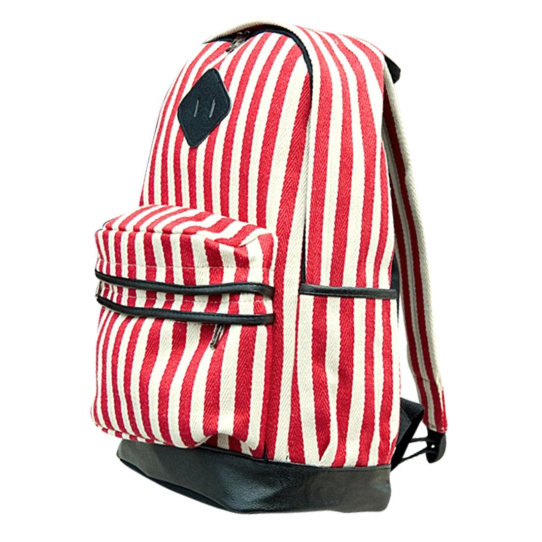 Men Adjustable Straps Zip Closure Side Pockets Backpack Red Beige