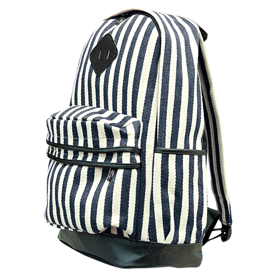 Men Padded Straps Zippered Pockets Stripes Backpack Navy Blue White