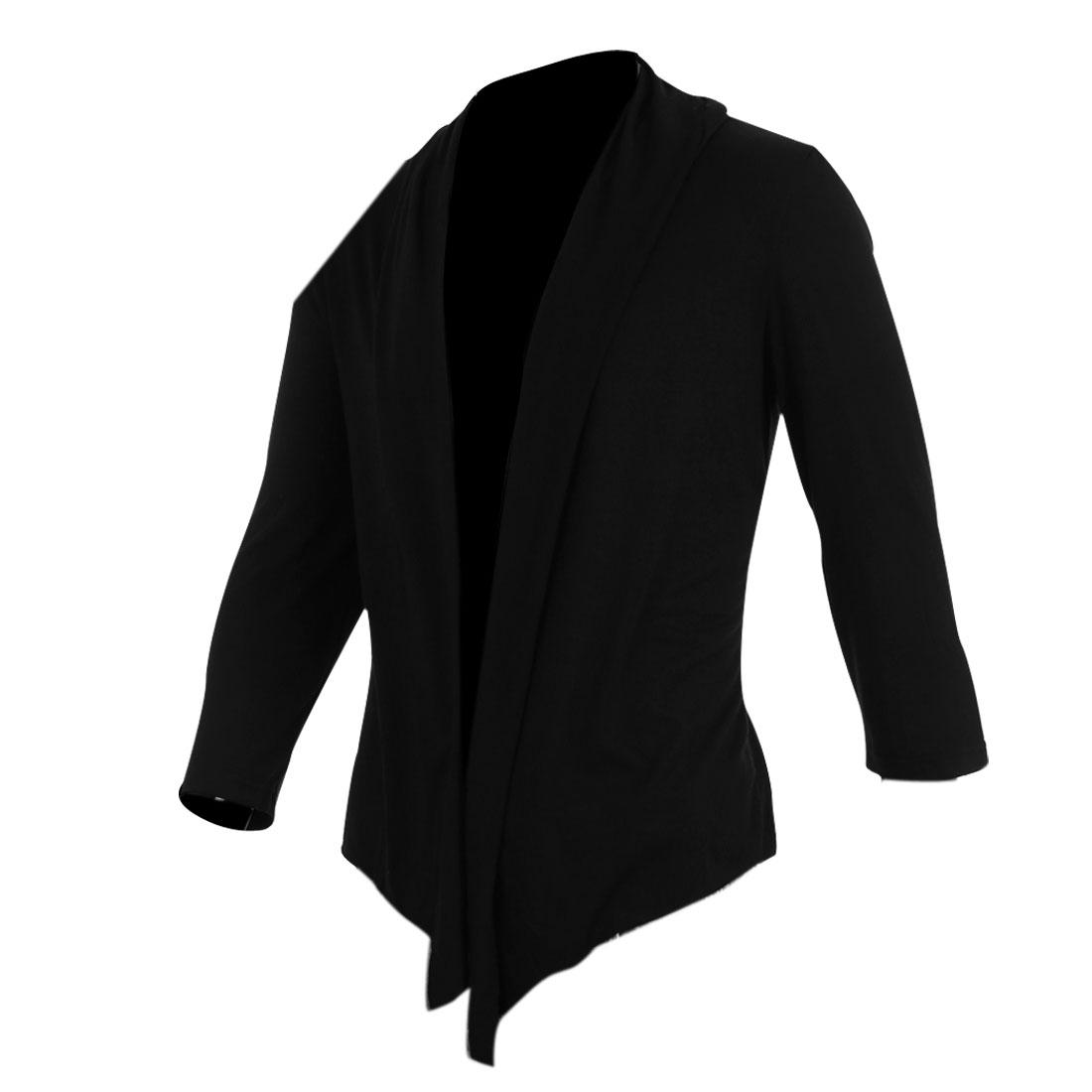 Men Solid Color Short Sleeves V Neck Loose Tops Cardigan Black M