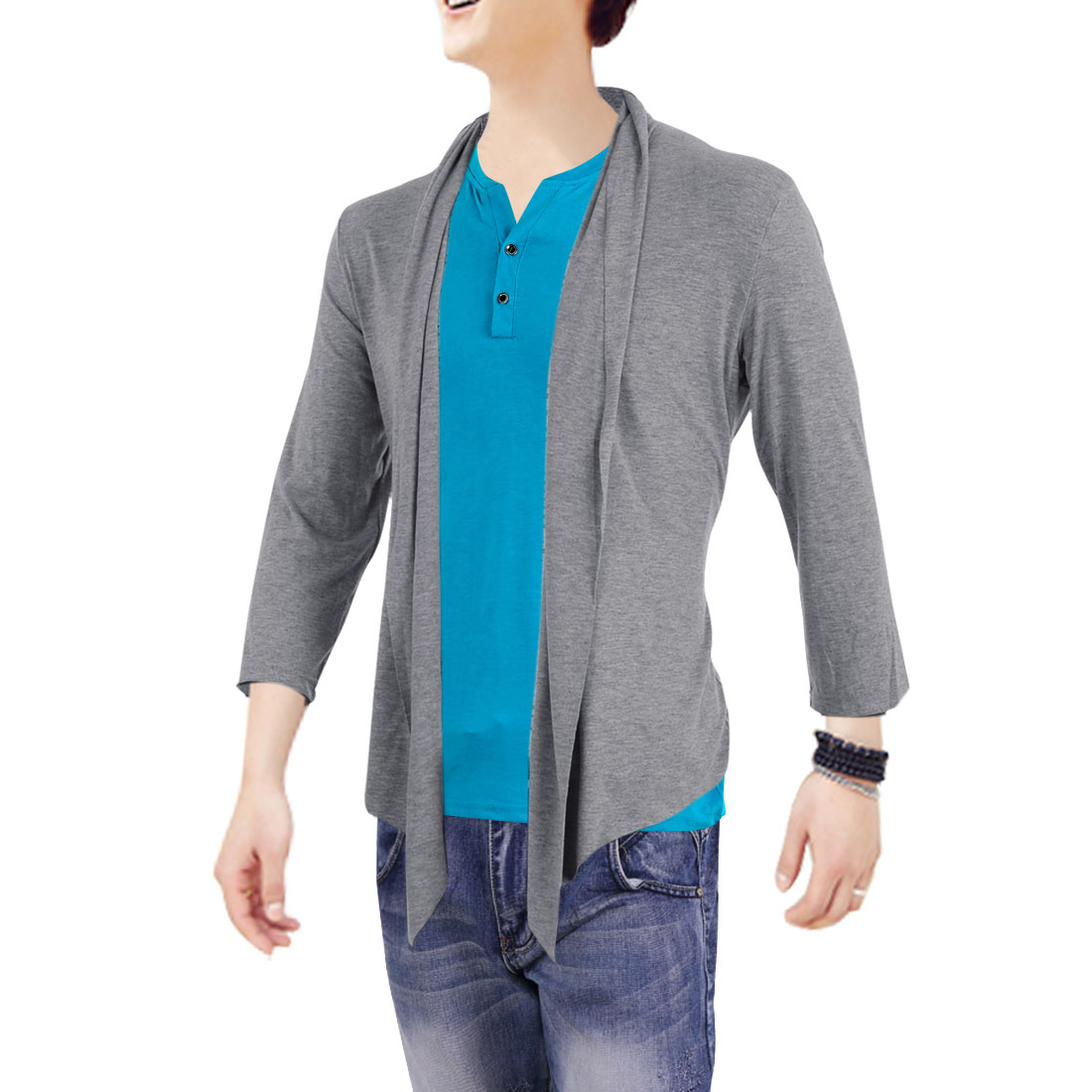 Man Cardigan Warm Stretch Fashional Front Opening Sweater Gray M