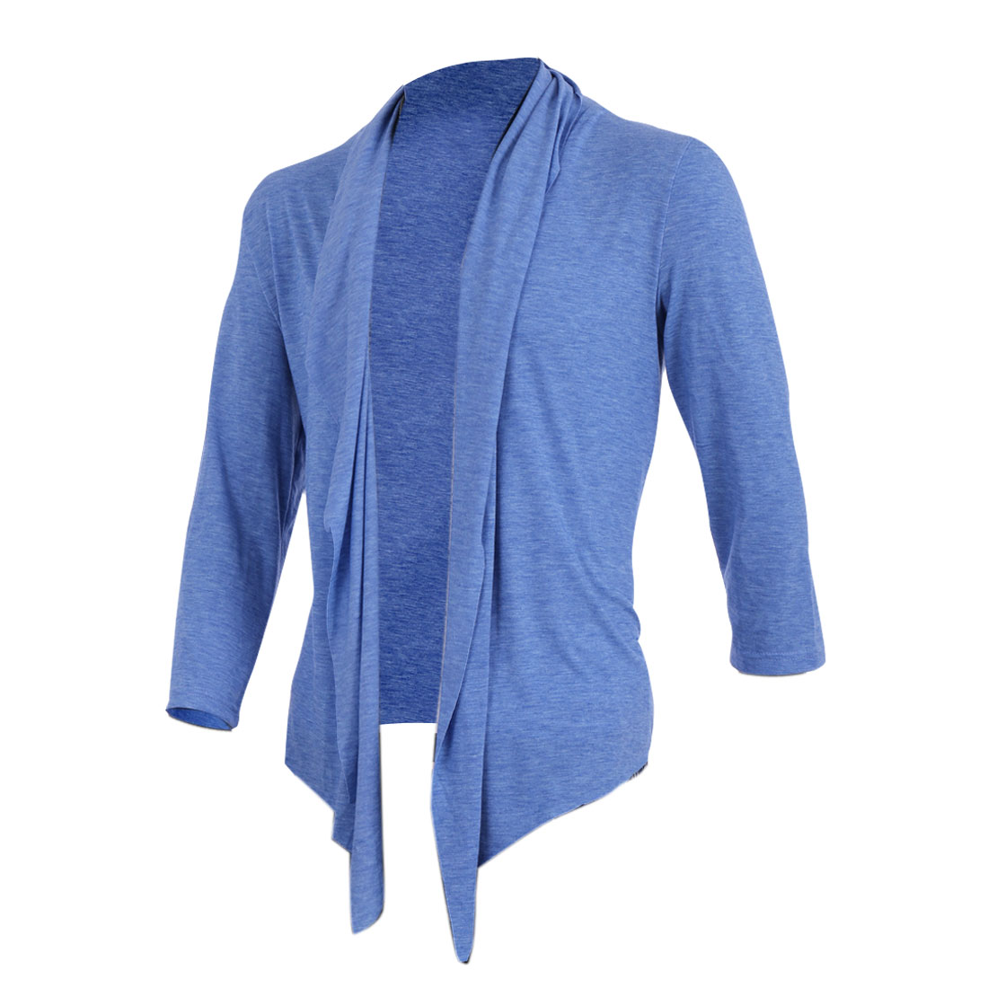 Men Stretchy V Neck 3/4 Sleeve Loose Cardigan Sweater Shirt Light Blue M