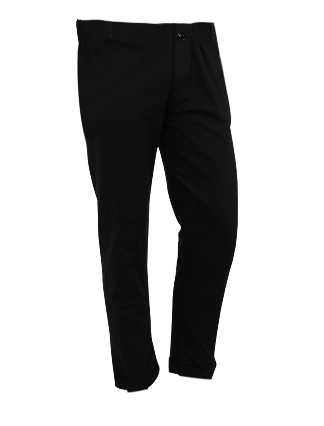 Men Fashion Belt Loop Waist Hip Patch Pockets Black Cropped Pants W35