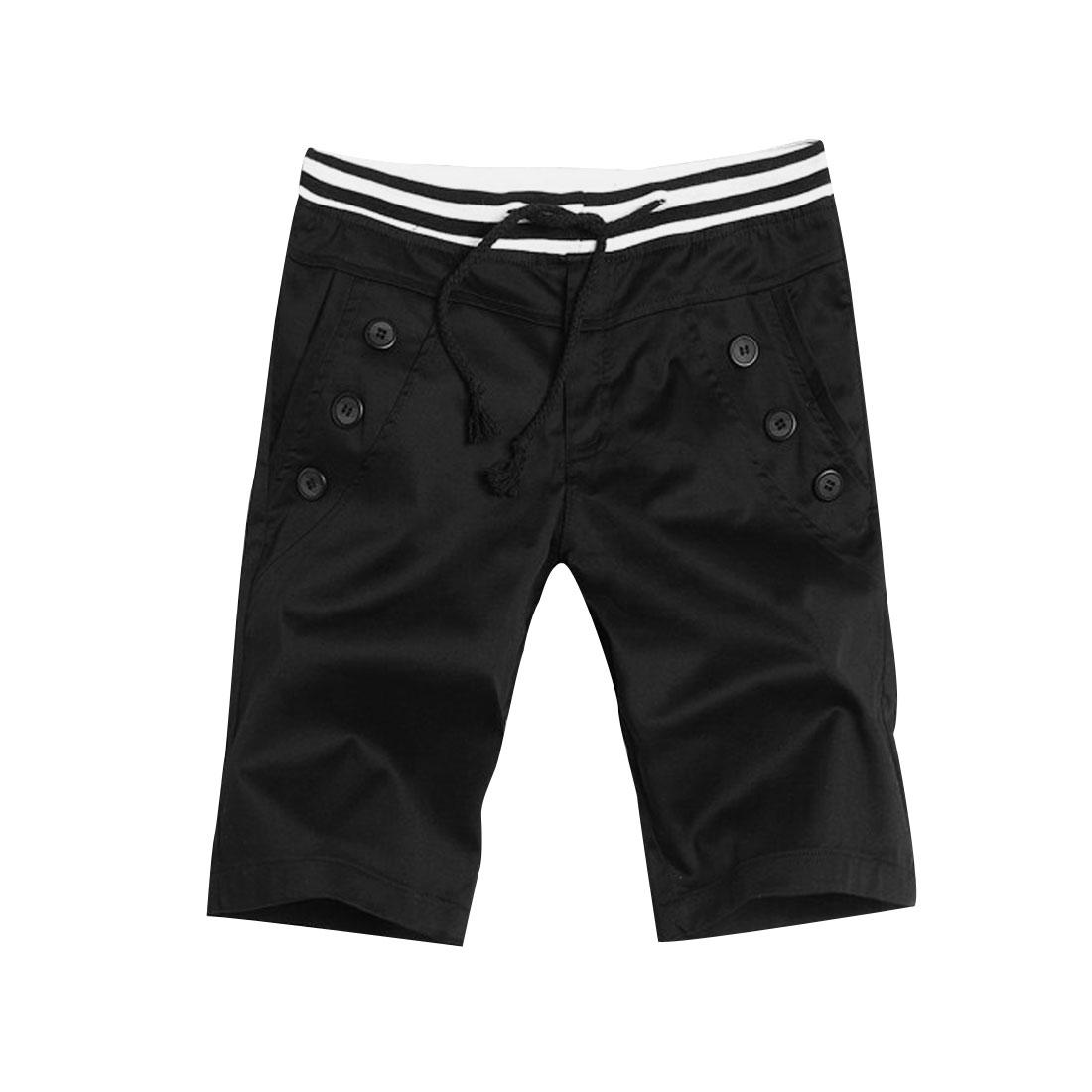 Men Drawstring Waist Buttoned Slant Side Pockets Black Shorts W33