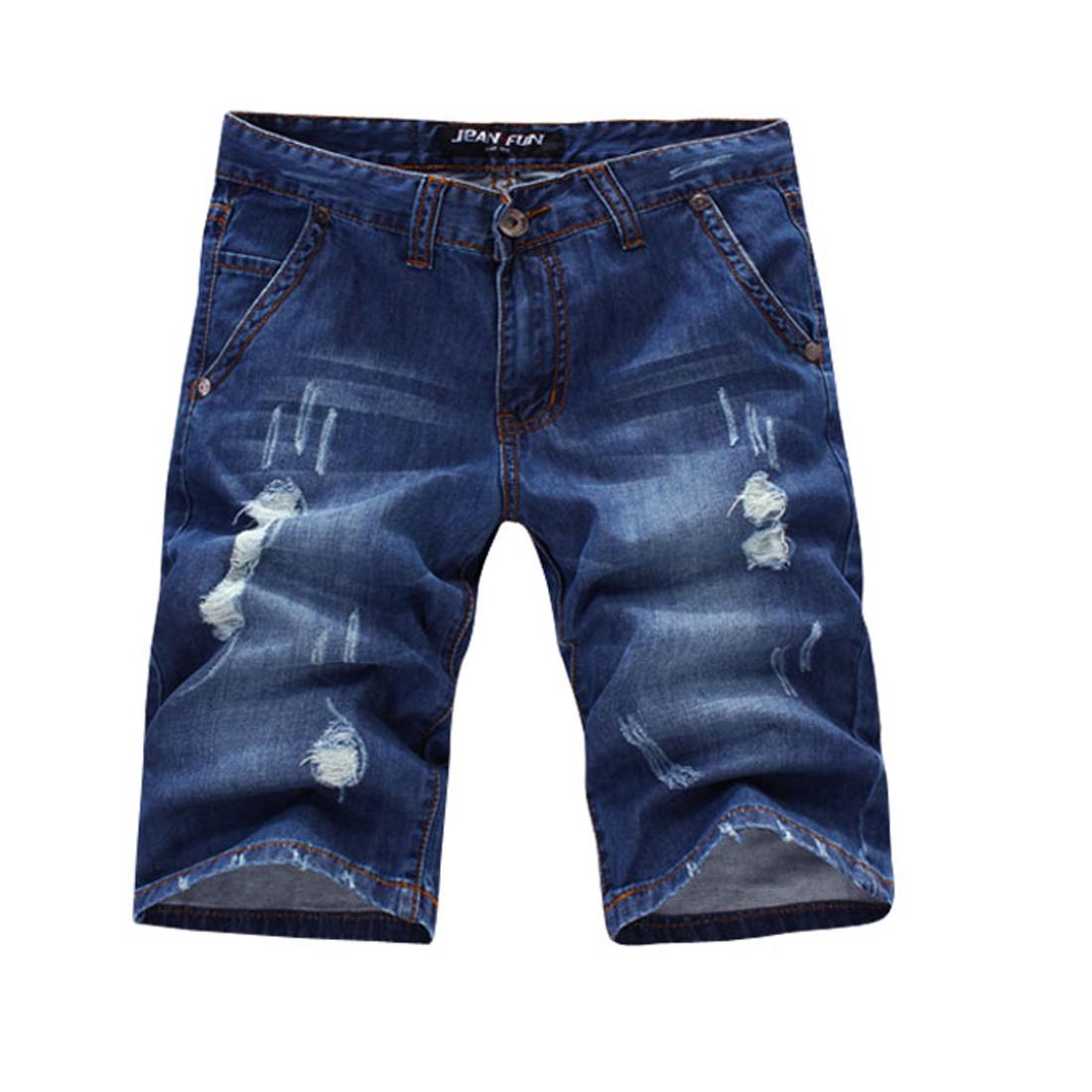 Men Hidden Zipper Button Closure Slant Pocket Belt Loops Jeans Blue W35