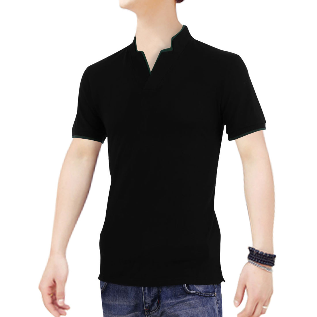 Man Short Sleeves Color Contrast V Neck Modern Shirts Black M