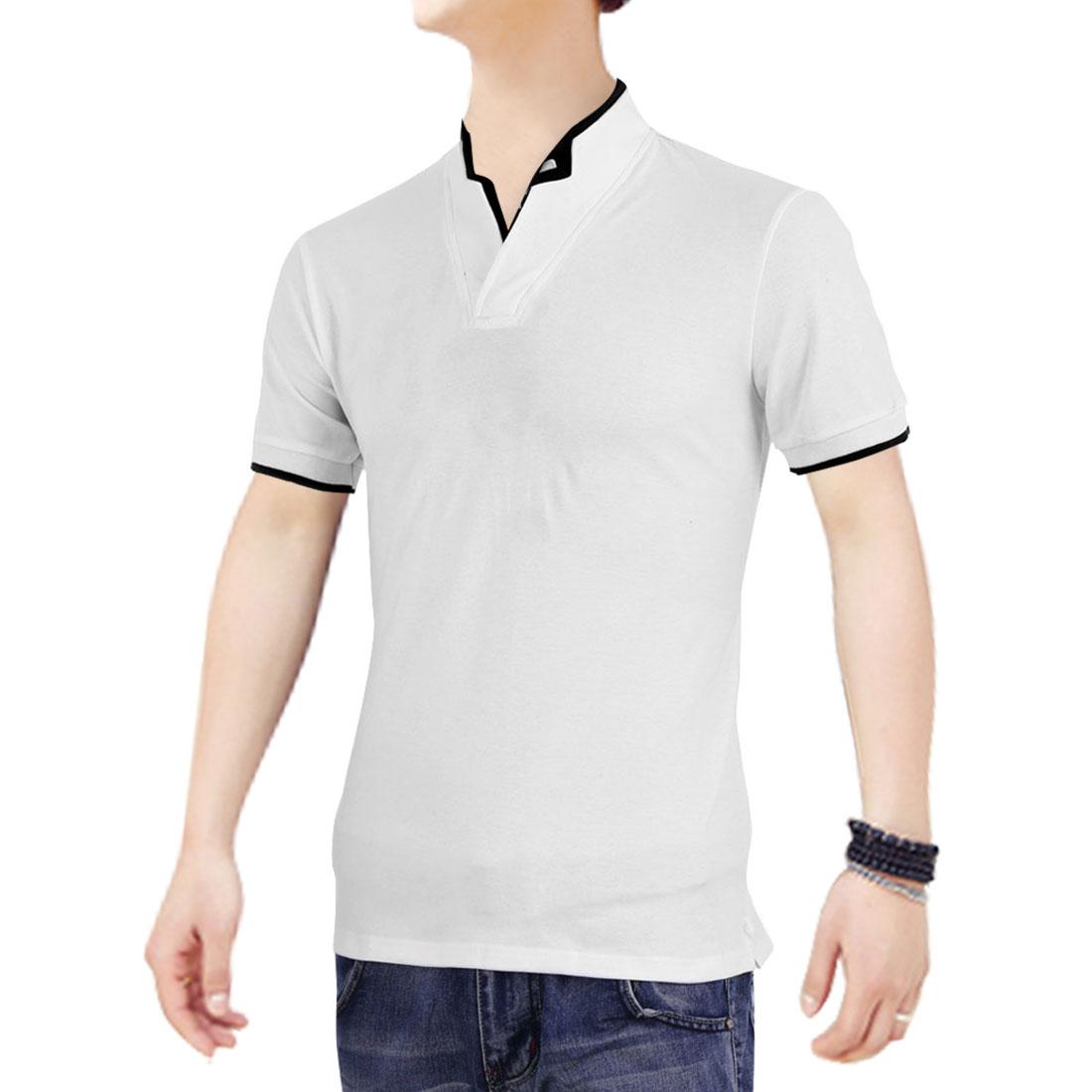 Man V Neck Short Sleeves Color Contrast Fashion Shirt White M