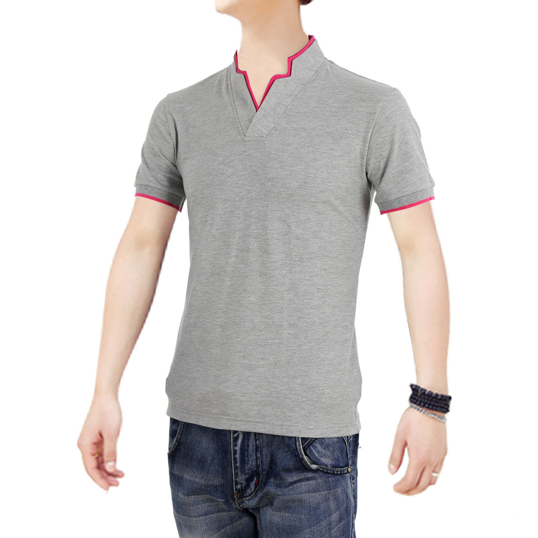 Men Personalized Panel Korean Style Leisure Shirts Light Gray M