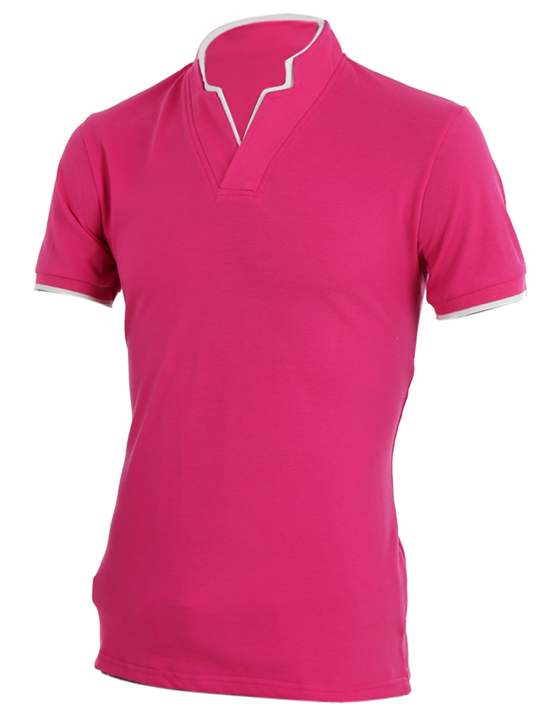 Men Stylish Patchwork Stretchy Short-sleeved Tops Shirt Fuchsia M