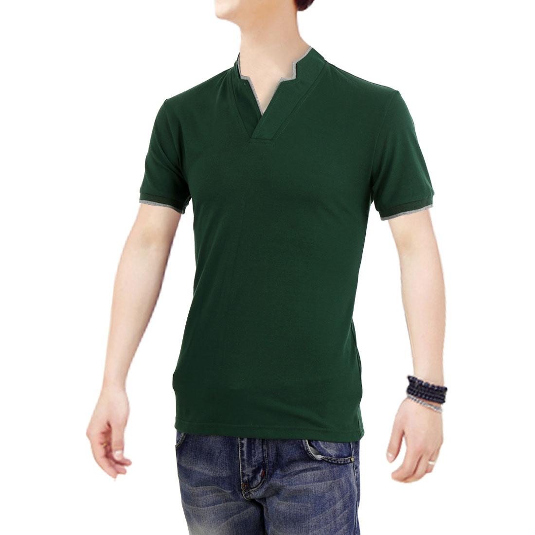 Men Modern Panel Stretchy Short-sleeved Tops Shirts Dark Green M