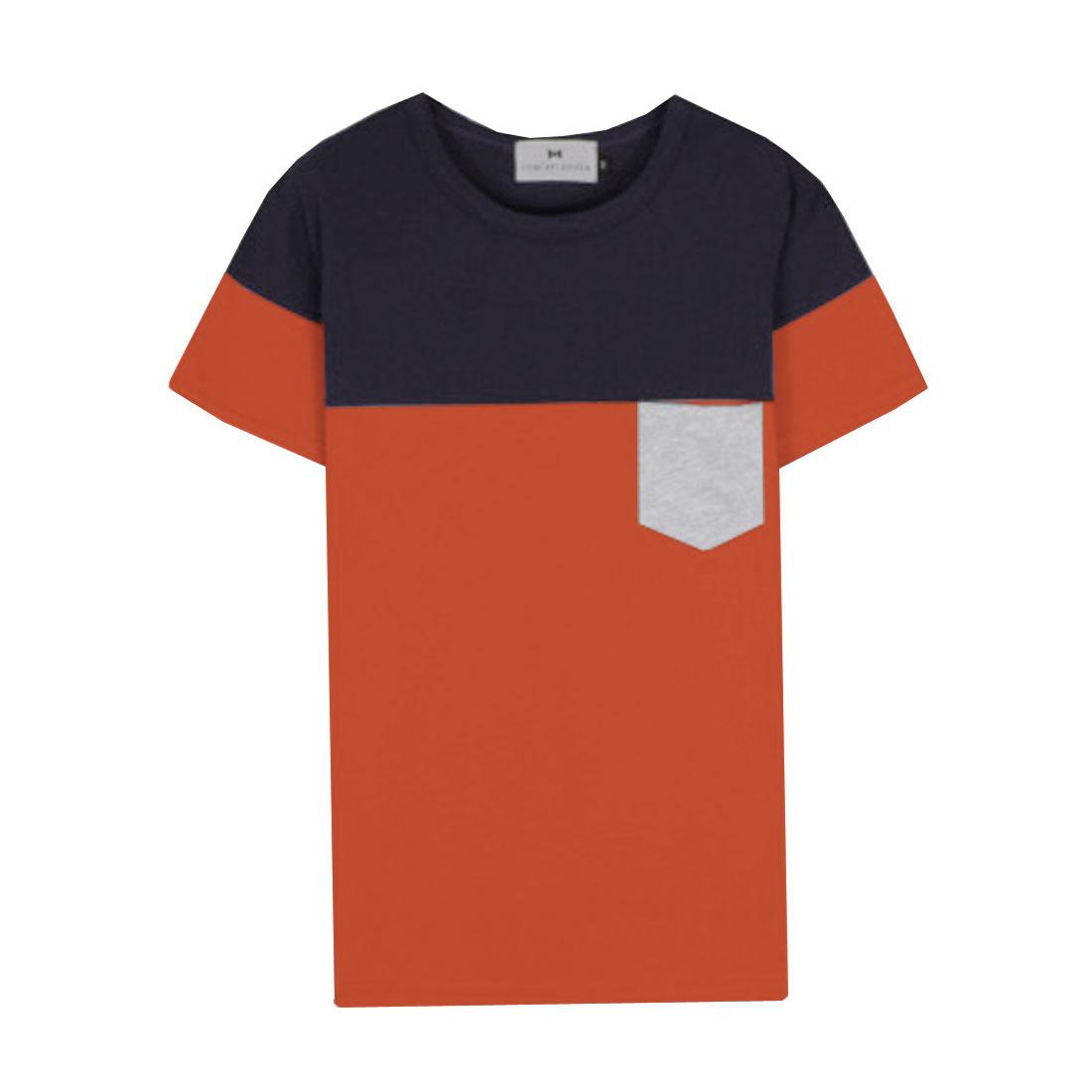 Men Short-sleeved Pockets Round Neck Shirt Orange Dark Blue S