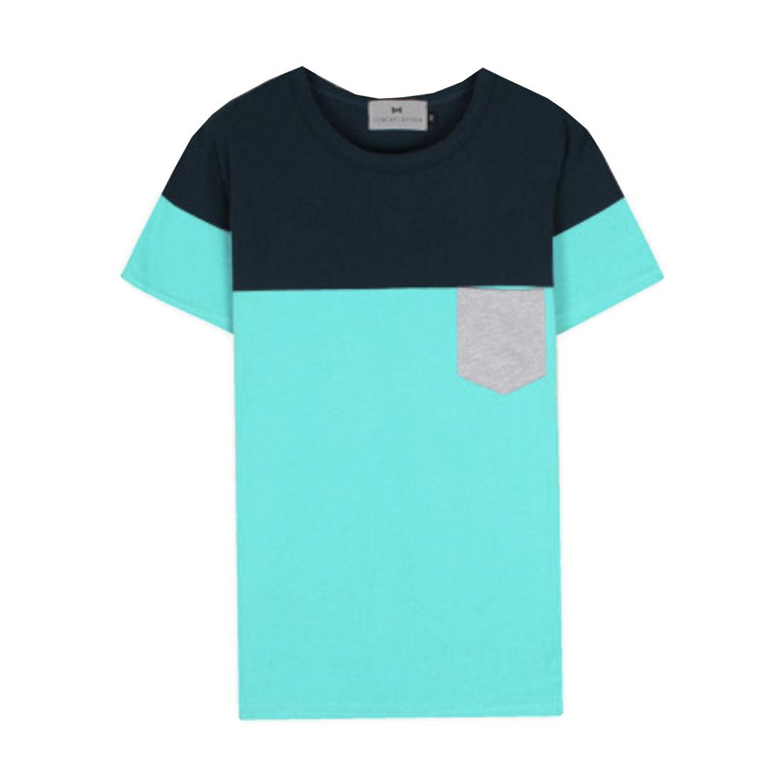 Man Round Neck Short Sleeve Chest Pockets Shirt Sky Blue Steel Blue S