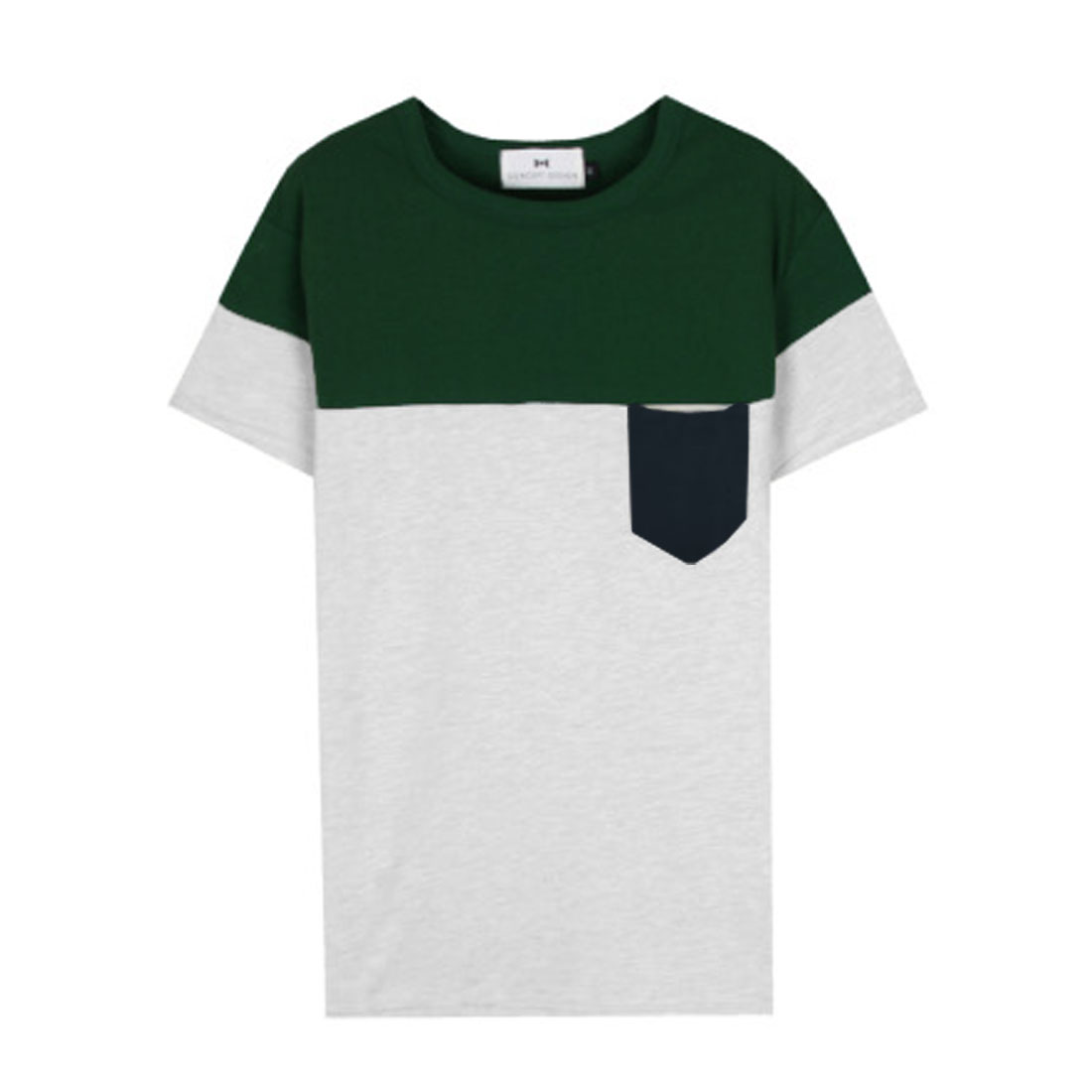 Men Splice Stretchy Stylish Round Neck Leisure Shirt Light Gray Green S